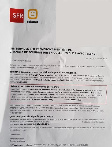 Lettre Telenet aux clients SFR pour publier
