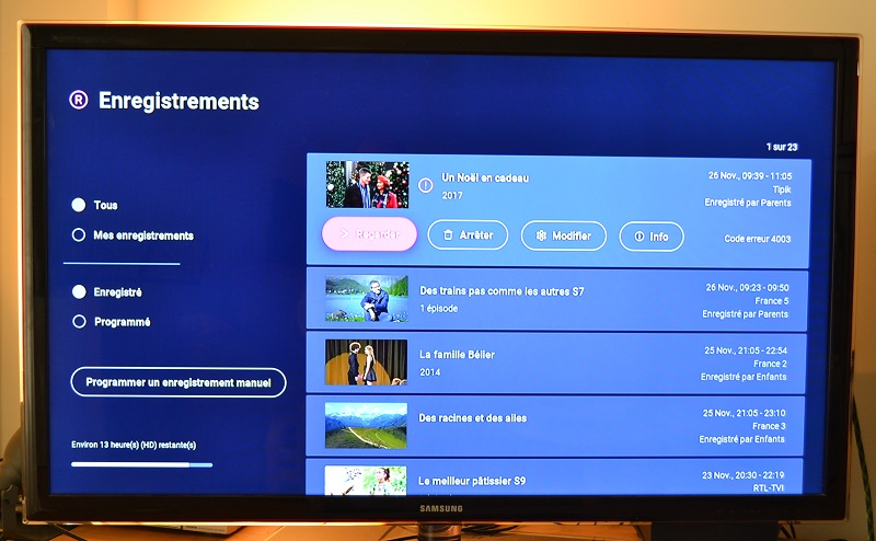 VOO TV plus Enregistrements