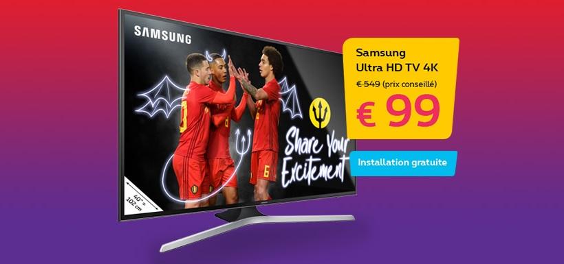 proximus offre aussi une tv samsung 4k 99 ou 4 mois de promotion astel. Black Bedroom Furniture Sets. Home Design Ideas
