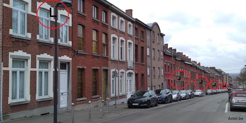 Rue avec antennes 5G en Belgique 2