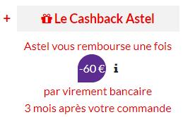 Cashback astel proximus 60 euros