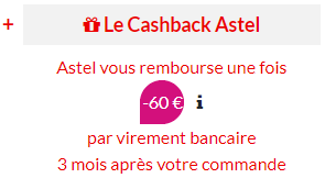 Cashback astel voo 60 euros