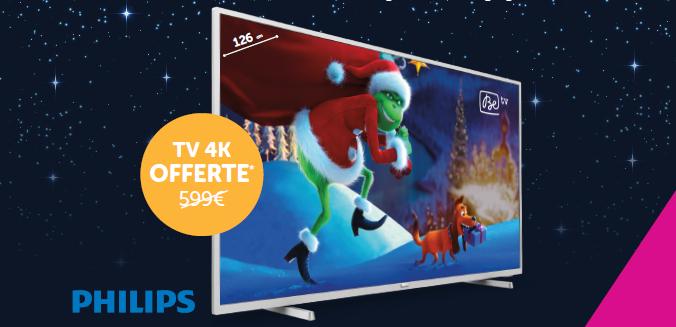 Promo - TV gratuite Philips LED 4K 50 pouces (diagonale 126 cm) au lieu de 599 €</br>+ -4 € pendant 6 mois sur chaque GSM (- 24 €)
