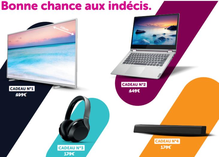 Promo - Cadeau au choix : 1 TV 4K ou 1 PC portable ou 2 casques bluetooth ou 2 barres de son ou 1 casque & 1 barre (valeur 499 €)</br>+ -4 € pendant 6 mois sur chaque GSM dans le pack