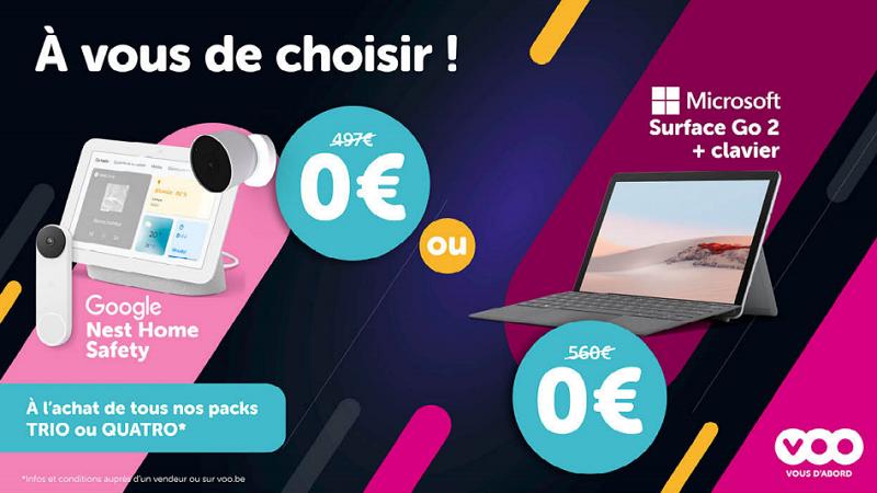 Promo - Cadeau gratuit au choix :</br>Soit un kit de sécurité Google Nest (valeur 497 €)</br>Soit un PC/Tablette Microsoft Surface Go 2 (valeur 560 €)</br>+ Réduction de -4 € pendant 6 mois sur tous les GSM dans le pack