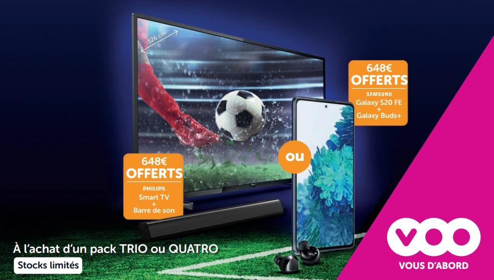 Promo - Cadeau gratuit au choix :</br>Soit une TV Philips 4K 50 pouces + barre de son bluetooth (valeur 648 €)</br>Soit un smartphone Samsung S20 FE + écouteurs sans fil Galaxy Buds+ (valeur 648 €)</br>+ Réduction de -4 € pendant 6 mois sur tous les GSM dans le pack