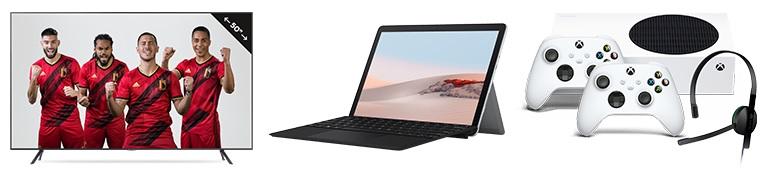 Promo - Cadeau voor €99 naar keuze:</br>Of een Samsung smart-tv 4K 50 inch (t.w.v. €699)</br>Of een Microsoft Surface Go 2 laptop-tablet (t.w.v. €558)</br>Of een Xbox Series S console met 2 controllers (t.w.v. €383)</br>+ Korting voor het leven van €-6/maand vanaf de 2e Gsm in het Flex-pakket</br>+ Gratis installatie en activering (-€59)